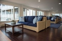 New rugs and wicker furniture in the Harbor Room at the Harborside Inn.